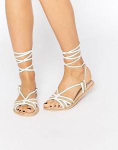 Кожаные сандалии с высокой завязкой ASOS FEELING - Бежевый