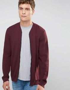 Бордовая вязаная куртка‑пилот с узором косичка ASOS - Красный
