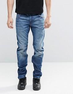 Узкие потертые джинсы G-Star 3D - Синий