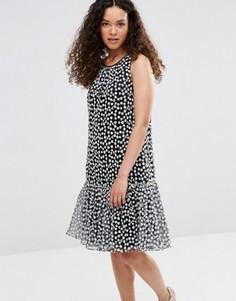 Платье с баской и цветочной вышивкой YMC - Черный