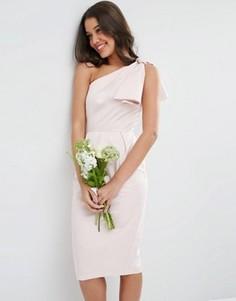 Структурированное платье на одно плечо с бантом ASOS WEDDING - Розовый
