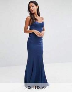 Атласное платье‑комбинация макси с годе Fame and Partners - Темно-синий