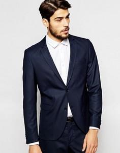 Эластичный пиджак слим Jack & Jones Premium - Синий