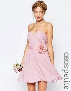 Шифоновое платье мини с цветком ASOS PETITE WEDDING - Розовый