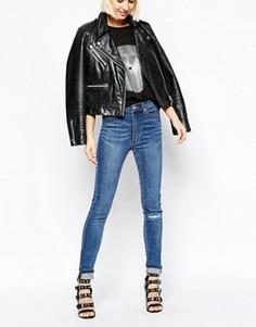 Зауженные джинсы с завышенной талией Cheap Monday Second Skin - Синий