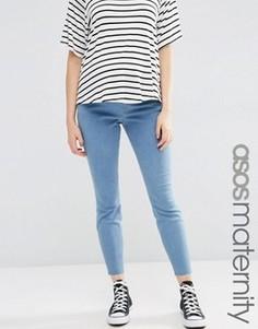 Светлые джинсы для беременных с необработанным краем ASOS Maternity - Синий