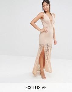 Кружевное платье макси с глубоким вырезом и решетчатой отделкой Love Triangle - Розовый