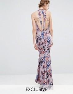 Свадебное платье макси с высокой горловиной и отделкой спинки Jarlo - Мульти