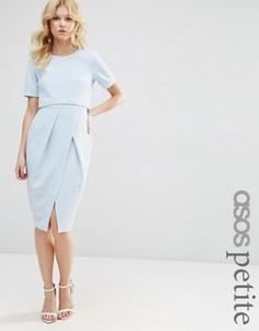 Двухслойное фактурное строгое платье миди ASOS PETITE - Синий