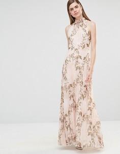 Плиссированное платье макси с принтом роз и высокой горловиной True Violet - Мульти