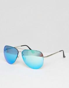 Большие очки-авиаторы с синими зеркальными стеклами Quay Australia Muse - Синий