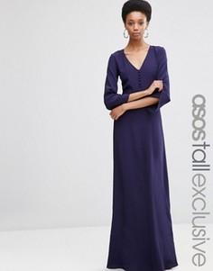 Платье макси с пуговицами спереди ASOS TALL - Темно-синий