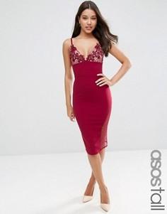 Облегающее платье миди с кружевными чашечками ASOS TALL - Красный