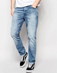 Умеренно выбеленные джинсы слим Only & Sons - Синий