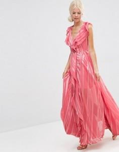 Платье макси в полоску с каскадными рюшами и молнией спереди ASOS - Розовый