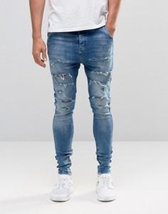 Гаремные джинсы с рваной отделкой SikSilk - Синий