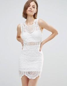 Кружевное платье с высокой горловиной Parisian - Белый