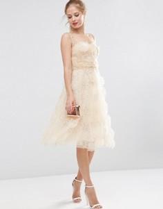 Платье миди для выпускного из органзы с 3D‑цветами ASOS SALON - Кремовый