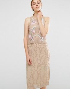 Платье-футляр 2-в-1 с вышивкой и отделкой бисером Frock and Frill - Розовый