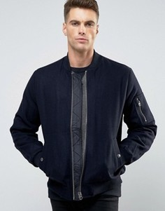 Темно-синяя полушерстяная куртка‑пилот с карманом MA1 ASOS - Темно-синий