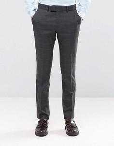 Темно-серые брюки суперзауженного кроя в клетку Ben Sherman Camden - Серый