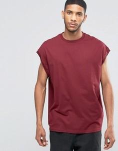 Свободная бордовая футболка ASOS - Красный