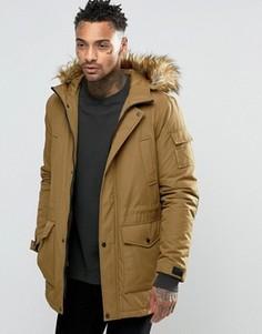 Коричневая куртка с отделкой искусственным мехом ASOS - Коричневый