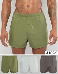 Набор из 3 тканых боксеров цвета хаки ASOS, СКИДКА 14 - Зеленый