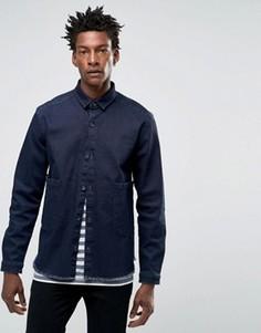 Темная джинсовая рубашка навыпуск с длинными рукавами и двумя карманами ASOS - Темно-синий