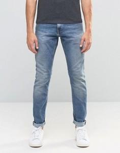 Светло-голубые выбеленные узкие джинсы Jack & Jones - Черный