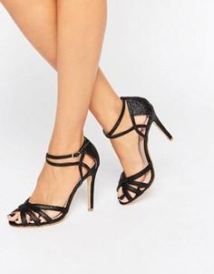 Блестящие сандалии на каблуке с ремешком на щиколотке True Decadence - Черный