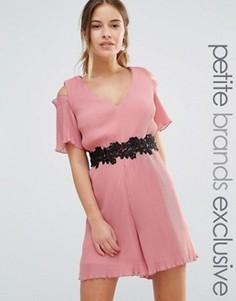 Ромпер с плиссировкой и декоративной отделкой Maya Petite - Розовый