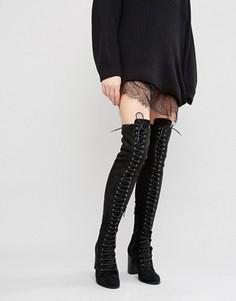 Ботфорты на каблуке со шнуровкой Public Desire - Черный