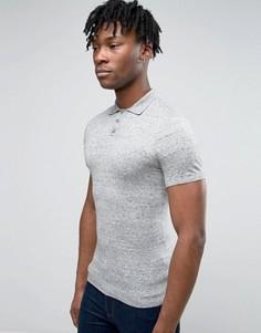 Серая трикотажная футболка-поло из меланжевого полотна ASOS - Серый