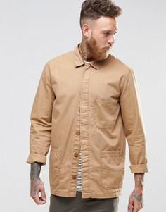 Песочная рубашка-куртка в рабочем стиле с длинными рукавами ASOS - Stone