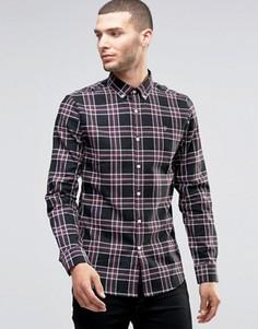 Хлопковая черная рубашка слим в шотландскую клетку Farah - Черный
