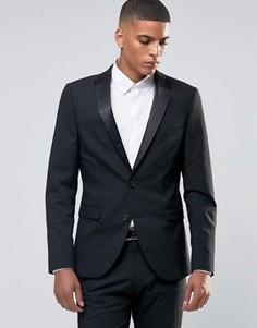 Стретчевый пиджак‑смокинг зауженного кроя Selected Homme - Черный