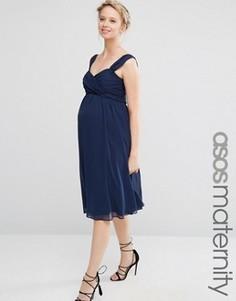 Шифоновое платье миди для беременных ASOS Maternity WEDDING - Синий
