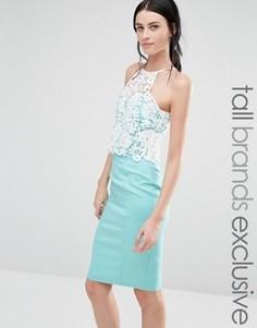 Облегающее платье с контрастным кружевным лифом Paper Dolls Tall - Зеленый