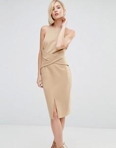 Платье миди с запахом спереди и глубоким вырезом сзади Lavish Alice - Бежевый