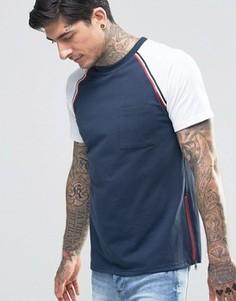 Футболка с рукавами реглан и карманом на груди Another Influence - Темно-синий