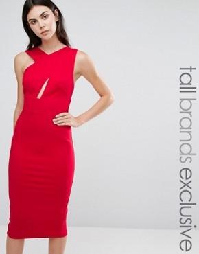Платье-футляр миди без рукавов TTYA - Красный