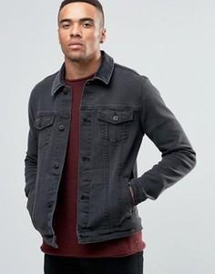 Черная джинсовая куртка скинни с вельветовым воротником ASOS - Черный