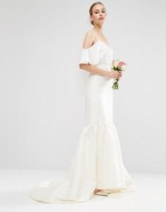 Свадебная атласная юбка с годе ASOS - Кремовый