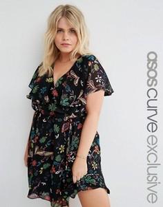 Короткое приталенное платье с цветочным принтом ASOS CURVE - Мульти