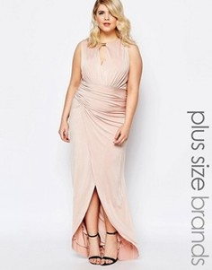Платье макси со сборками и запахом спереди Forever Unique Plus - Розовый