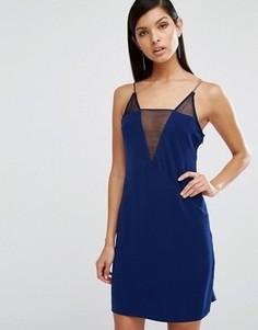 Платье мини с сеточкой и глубоким V-образным вырезом AQ/AQ Montana - Темно-синий