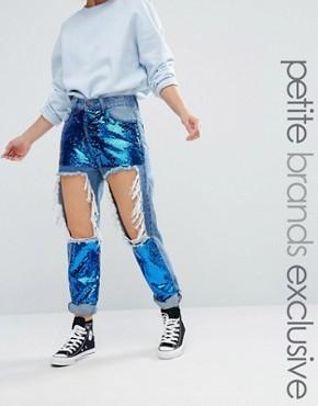 Рваные облегающие джинсы с пайетками Liquor & Poker Petite - Синий