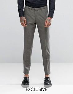 Супероблегающие брюки с узором гусиная лапка Heart & Dagger - Коричневый