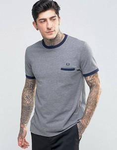 Серая меланжевая футболка с карманом на груди Fred Perry Ringer - Серый
